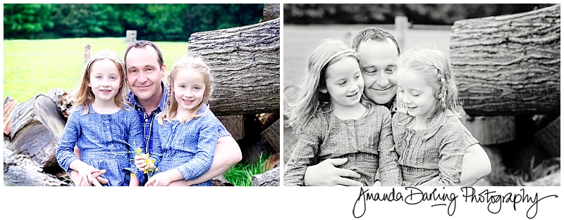 Dad and twin daughterd lifesyle family photgrapher Amanda Darling