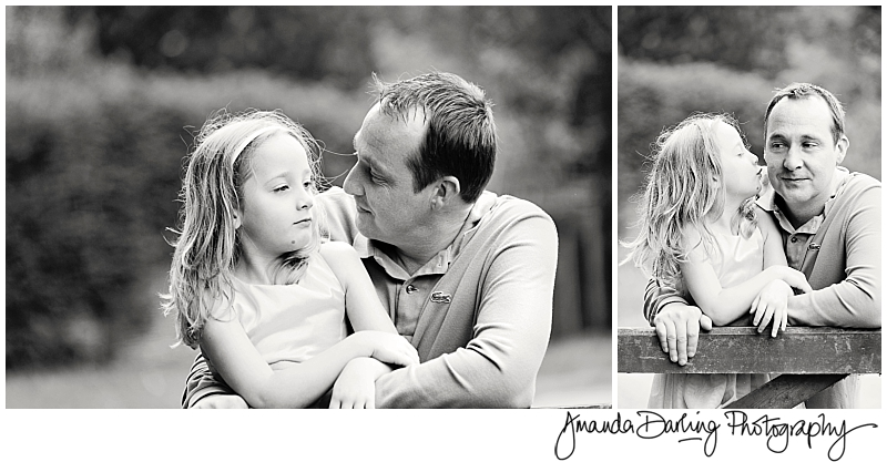 relaxed photograph of dad and twin daughter by Surrey family photographer Amanda Darling