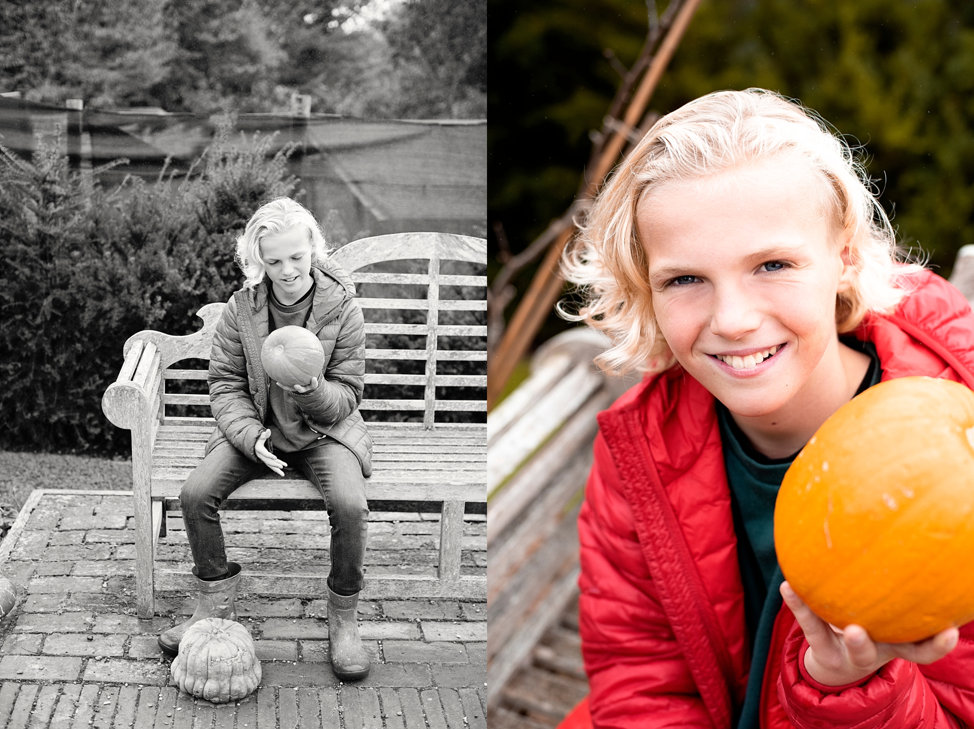 Photo of boy with pumpkin at Standen House National Trust by Amanda Darling Photograohy